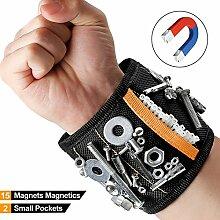 Visenta Magnetische Armband hält Schrauben Nägel und Werkzeuge Handlich während des Arbeiten verstellbaren Werkzeug Veranstalter Gürtel Beste Tool Geschenk für Heimwerker Herren Frauen, schwarz