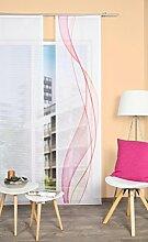 VISION S 84333   Schiebegardine HEIGHTS   halb-transparenter Stoff in Bambus-Optik   260x60 cm   Farbe: (beere)