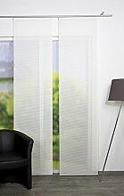 VISION S 84401 | Schiebegardine ROM | halb-transparenter Stoff in Bambus-Optik | 260x60 cm | Farbe: weiß