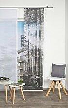 VISION S 84456   Schiebegardine FLORESTA III   halb-transparenter Stoff in Bambus-Optik   260x60 cm   Farbe: (grau)