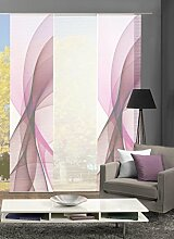 VISION S 88421   3er-Set Schiebegardine LADA   halb-transparenter Stoff in Bambus-Optik   3x 260x60 cm   Farbe: (beere)