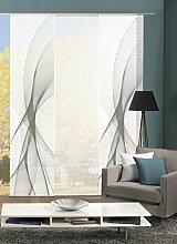 VISION S 88421   3er-Set Schiebegardine LADA   halb-transparenter Stoff in Bambus-Optik   3x 260x60 cm   Farbe: (grau)