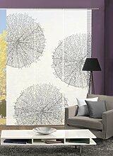 VISION S 88557-6007   3er-Set Schiebegardine CRESTON   halb-transparenter Stoff in Bambus-Optik   3x 260x60 cm   Farbe: Stein