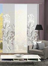 VISION S 88653-0307   3er-Set Schiebegardine SEMORA   halb-transparenter Stoff in Bambus-Optik   3x 260x60 cm   Farbe: Grau