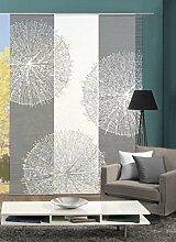 VISION S 88757-6007   3er-Set Schiebegardine CROSTON   halb-transparenter Stoff in Bambus-Optik   3x 260x60 cm   Farben: Grau + Stein
