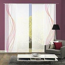 VISION S 94333-6307   4er-Set Schiebegardine HEIGHTS   halb-transparenter Stoff in Bambus-Optik   4x 260x60 cm   Farbe: Beere