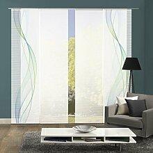 VISION S 94333-6407   4er-Set Schiebegardine HEIGHTS   halb-transparenter Stoff in Bambus-Optik   4x 260x60 cm   Farbe: Blau-Grün