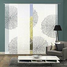 VISION S 94557-6007   4er-Set Schiebegardine CRESTON   halb-transparenter Stoff in Bambus-Optik   4x 260x60 cm   Farbe: Stein
