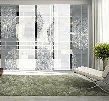 VISION S 95757-0307   5er-Set Schiebegardine CROSTON   halb-transparenter Stoff in Bambus-Optik   5x 260x60 cm   Farben: Grau + Stein