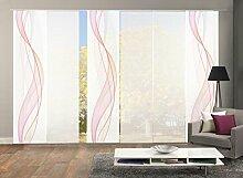 VISION S 96333-6307   6er-Set Schiebegardine HEIGHTS   halb-transparenter Stoff in Bambus-Optik   6x 260x60 cm   Farbe: Beere