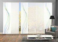 VISION S 96333-6407   6er-Set Schiebegardine HEIGHTS   halb-transparenter Stoff in Bambus-Optik   6x 260x60 cm   Farbe: Blau-Grün