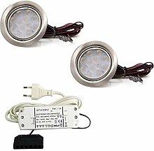 vislux 2er Set LED Möbelleuchte Einbaustrahler