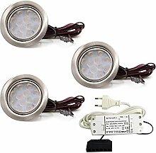 vislux 3er Set LED Möbelleuchte Einbaustrahler