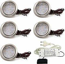 vislux 5er Set LED Möbelleuchte Einbaustrahler