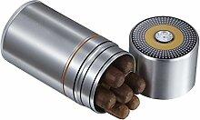 Visol Produkte Big Joe 7-cigar Reisen/Schreibtisch Humidor, schwarz und gelb, Brushed Aluminum, Einheitsgröße