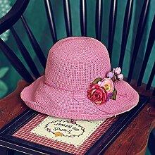 Visor Kinder Sommer Getaways Sonnenschutz gap Koreanische Version von großen klappbaren entlang dem Strand Stroh Hut Hüte, Kappen, regulierbare Rosa