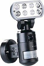 VisorTech Außenleuchte Kamera: HD-IP-Kamera m. LED-Flutlicht, 8 W, Bewegungsverfolgung, SD-Aufz., App (Überwachungskammera)