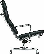 Vitra - EA 222 Soft Pad Sessel Chrom mit Armlehnen, drehbar, Leder schwarz (Filzgleiter)