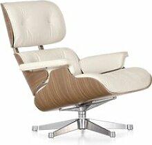 Vitra - Lounge Chair, weiß / poliert, Nussbaum
