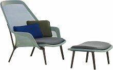 Vitra Slow Chair Mit Ottoman Loungestuhl Blau/grün Pulverbeschichtung Braun