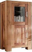 Vitrine Holzvitrine Braxton, Massivholz Holz Eiche massiv natur geölt, Breite 74 cm, Tiefe 47 cm, Höhe 132 cm