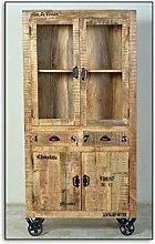Vitrine Mangoholz mit starken Gebrauchsspuren natur antik mit antikschwarzen Beschlägen