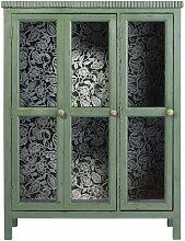 Vitrine mit 2 Türen aus grünem massivem