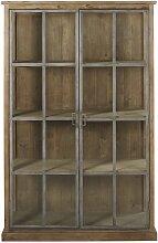 Vitrine mit 2 Türen aus Recycling-Kiefernholz und
