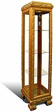 Vitrine Schrank - Barock Stil Italien| Gold | Handgefertigt |