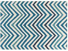 VIVA 19463 Ikat Teppich, Baumwolle, blau/hellblau, 65 x 130 x 0,85 cm