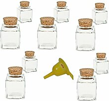 Viva Haushaltswaren 10 x Mini Gewürzglas eckig 50 ml, Glasdose mit Korkverschluss als Gewürzdose & Vorratsdosen für Gewürze, Salz etc. verwendbar (inkl. Trichter gelb)