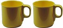 Viva-Haushaltswaren 2 gelbe Kunststoff-Becher 250 ml Kaffeebecher Trinkbecher aus Melamin