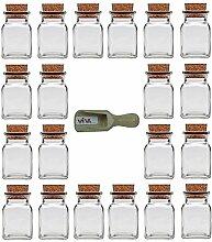 Viva Haushaltswaren 20 x Gewürzglas eckig 150 ml, Glasdose mit Korkverschluss als Gewürzdose & Vorratsdose für Gewürze, Salz etc. verwendbar (inkl. kleiner Holzschaufel 7,5 cm)