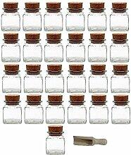 Viva Haushaltswaren 25 x Gewürzglas eckig 120 ml, Glasdose mit Korkverschluss als Gewürzdose & Vorratsdose für Gewürze, Salz etc. verwendbar (inkl. kleiner Holzschaufel 7,5 cm)