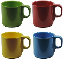 Viva-Haushaltswaren 4 bunte Kunststoff-Becher 250 ml Kaffeebecher Trinkbecher aus Melamin