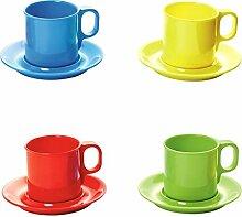 Viva-Haushaltswaren 4 Kunststoff-Becher/Kaffeebecher/Trinkbecher mit Untertasse aus Melamin sort. in den Farben rot, grün, gelb und blau
