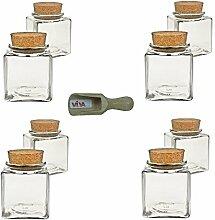 Viva Haushaltswaren 8 x kleines Gewürzglas eckig 100 ml, Glasdose mit Korkverschluss als Gewürzdose & Vorratsdose für Gewürze, Salz etc. verwendbar (inkl. kleiner Holzschaufel 7,5 cm)