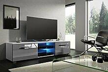VIVALDI MEBLE LED TV Board weiß grau Hochglanz