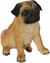 Vivid Arts XRL-PUGG-D Mops Hund, beige, Kunstharz