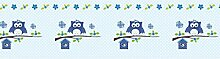 Vlies Bordüre selbstklebend fürs Kinderzimmer Wandtattoo Happy Eule blau