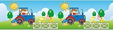 Vlies Bordüre selbstklebend fürs Kinderzimmer Wandtattoo Traktor