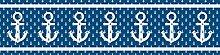 Vlies Bordüre selbstklebend maritim nautical sailor pirate Anker blau