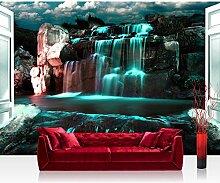 Vlies Fototapete 208x146cm PREMIUM PLUS Wand Foto Tapete Wand Bild Vliestapete - Wasser Tapete Wasserfall Felsen Wolken Tür Nacht türkis - no. 2964