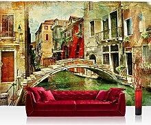 Vlies Fototapete 300x210 cm PREMIUM PLUS Wand Foto Tapete Wand Bild Vliestapete - GREAT VENICE - Venedig Kanal Italien Gondel Romantik Zeichnung - no. 055