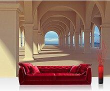 Vlies Fototapete 300x210 cm PREMIUM PLUS Wand Foto Tapete Wand Bild Vliestapete - ROMANTIC ARCADE - Romantic 3D Perspektive Säulengang Arkade - no. 069