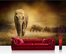 Vlies Fototapete 300x210 cm PREMIUM PLUS Wand Foto Tapete Wand Bild Vliestapete - AFRICAN SAVANNA - Afrika Savanne Elefant Elefanten Gras Landschaft - no. 011