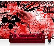 Vlies Fototapete 300x210 cm PREMIUM PLUS Wand Foto Tapete Wand Bild Vliestapete - Kinderzimmer Teen Jugendzimmer Graffitti Rot - RED GRAFFITI WALL - No. 036