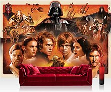 Vlies Fototapete 312x219cm PREMIUM PLUS Wand Foto Tapete Wand Bild Vliestapete - Jungen Tapete STAR WARS Yoda Luke Skywalker Obi Wan Cartoon Illustration braun - no. 1816
