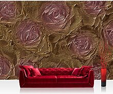 Vlies Fototapete 312x219cm PREMIUM PLUS Wand Foto Tapete Wand Bild Vliestapete - Blumen Tapete Rosen Blume Blüten Pflanze Liebe braun - no. 1414
