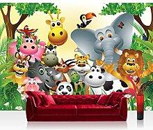 Vlies Fototapete 350x245 cm PREMIUM PLUS Wand Foto Tapete Wand Bild Vliestapete - JUNGLE ANIMALS PARTY - Kinderzimmer Kindertapete Dschungel Zoo Tiere Giraffe Löwe Affe - no. 013